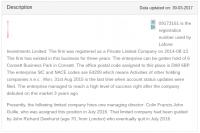 Beschreibung der Lafone Investments Ltd.
