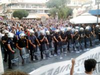 Demonstration on July 2nd 2015 against the demo of the supporters of YES in Heraklion