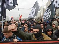 5 - black sun svastika banners on Neo Nazi demonstrations in Russia