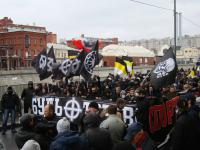 6 - black sun svastika banners on Neo Nazi demonstrations in Russia
