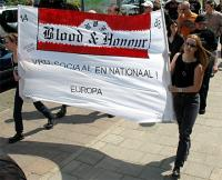 14.5.2005  Arnhem -Margot van Trienen (rechts)mit Blood & Honour Transparent