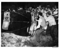 Rioters wreck a car on the night of Aug. 27, when Robeson had originally been scheduled to give a concert in Peekskill.