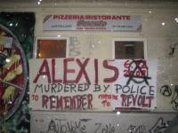 Solidarity banner in remembrance of Alexis - 1