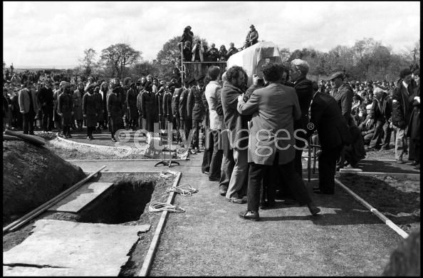 The funeral of IRA hunger striker Francis Hughes in Bellaghy, in County Londonderry, 15th May 1981. Hughes was the second person, after Bobby Sands, to die in May 1981 during a hunger strike at the Maze (Long Kesh) prison. (Photo Alex Bowie/Getty Images)
