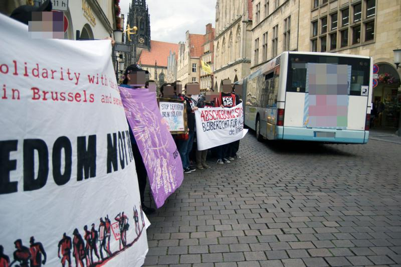 Soli-Kundgebung in Münster für den refugee march for freedom 2